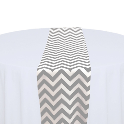 Grey & White Chevron Table Runner Rental