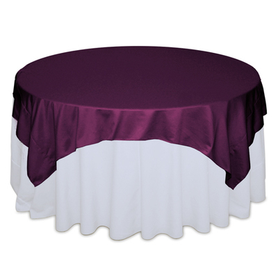 Sangria Plum Matte Satin Table Overlay Rental
