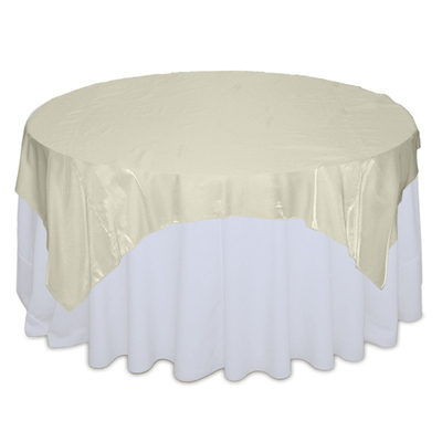 Ivory Organza Satin Table Overlay Rental
