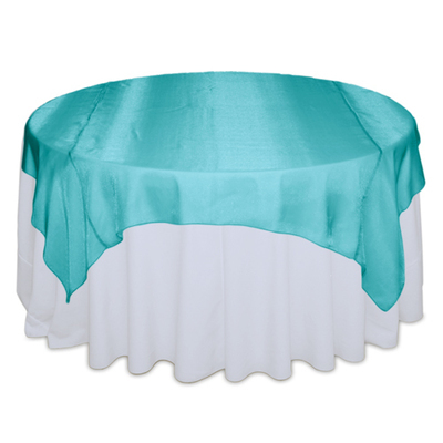 Teal Sheer Table Overlay Rental