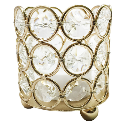 Small Gold Crystal Gem Pillar Candle Holder Rental