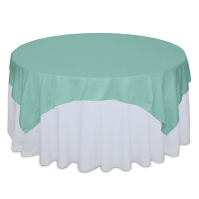 Aqua Matte Satin Table Overlay Rental