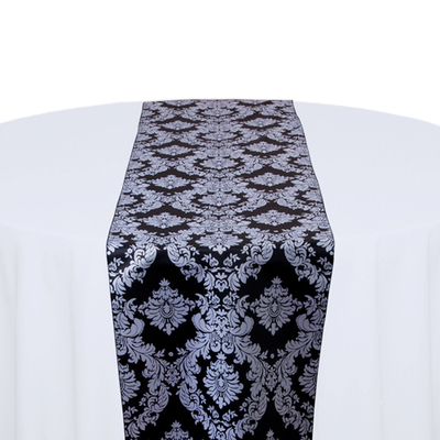 Black & White Damask Satin Table Runner Rental