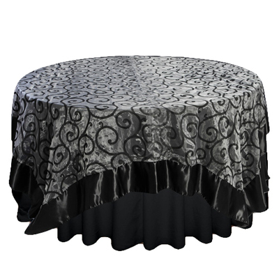 Black Flocked Swirl with Satin Trim Overlay Rental
