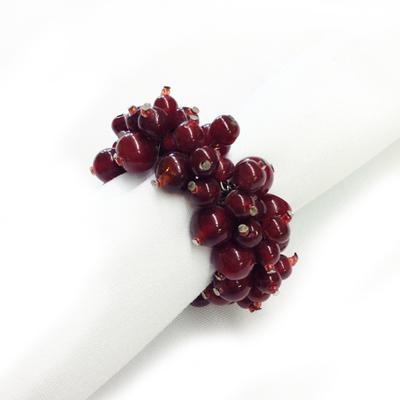 Raspberry Beaded Napkin Rings