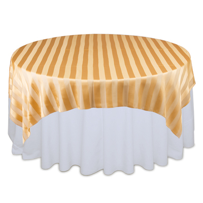 Gold Eternity Sheer Stripe Table Overlay Rental