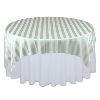 Sage Eternity Sheer Stripe Table Overlay Rental