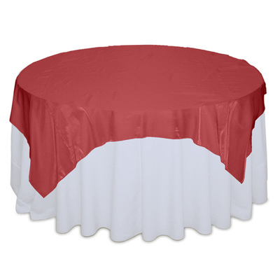 Red Organza Satin Table Overlay Rental