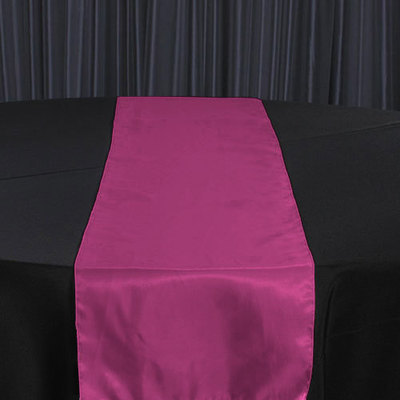Red Raspberry Organza Satin Table Runner Rental