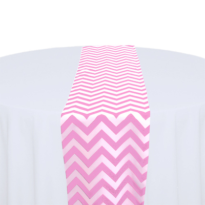 Pink & White Chevron Table Runner Rental