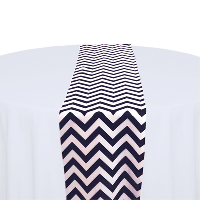 Navy & White Chevron Table Runner Rental