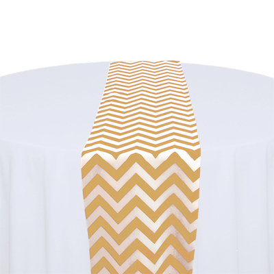 Gold & White Chevron Table Runner Rental