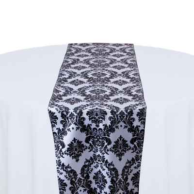 White & Black Damask Satin Table Runner Rental