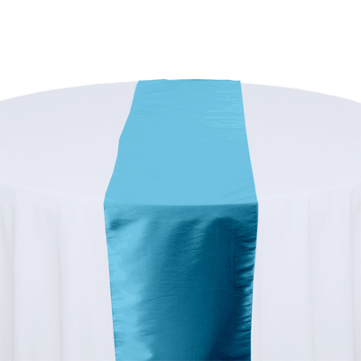 Sky Blue Taffeta Table Runner Rental
