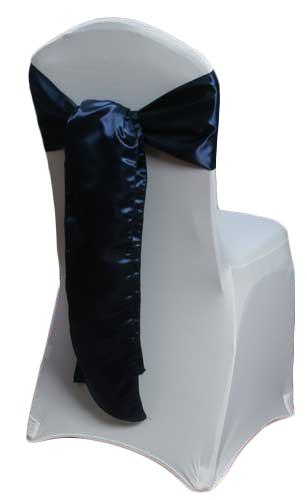 Navy Satin Chair Sash Rental Navy Polyester Satin Chair Sash Rental