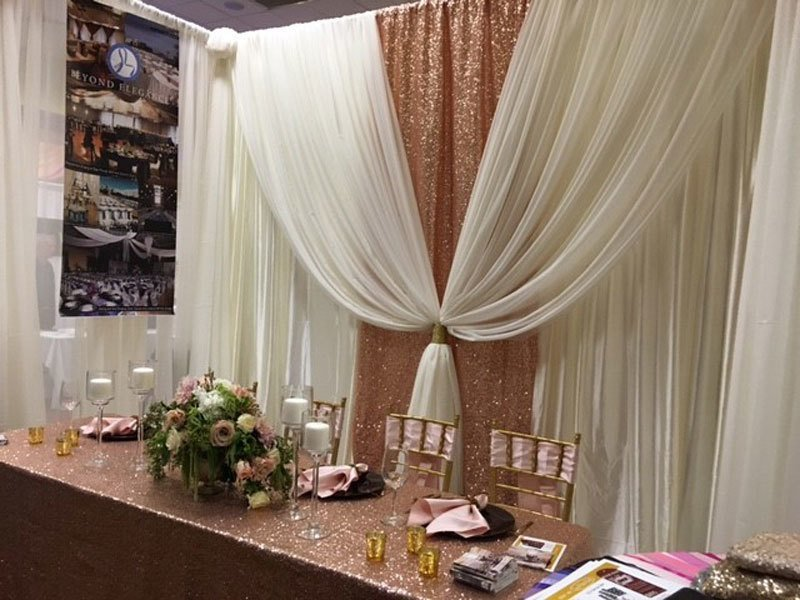 Ivory Sheer with Blush Rose Gold Taffeta Sequin Accent - 12' - Setup and Tear Down Included