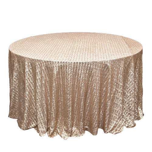 Champagne Sequin Overlay Rentals - Mesh Champagne Sequi Tablecloth Rentals - Mesh