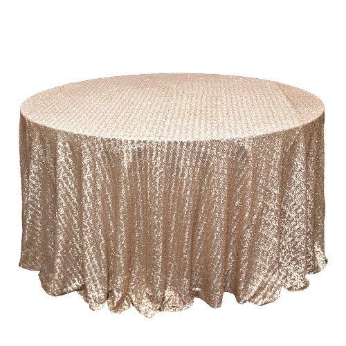 Champagne Sequin Tablecloth Rentals - Mesh Champagne Sequi Tablecloth Rentals - Mesh