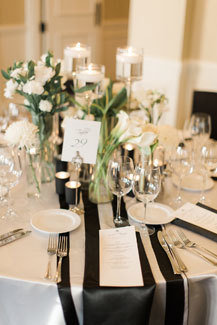 Black & White Charmeuse Satin Table Runner Rental