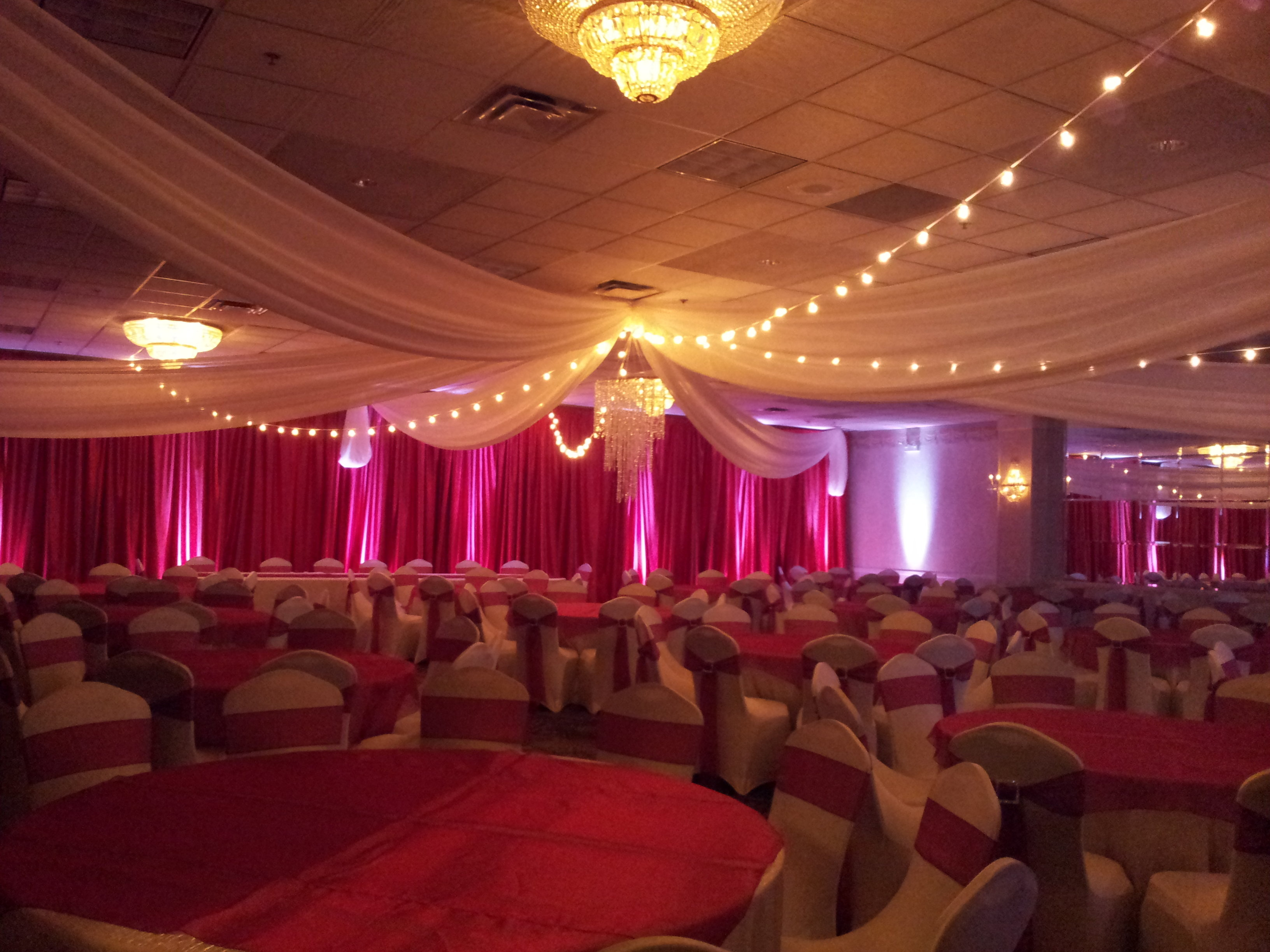 DIY Red Sateen Wall Draping - 12' Height - Per Foot Red Sateen Wall Draping