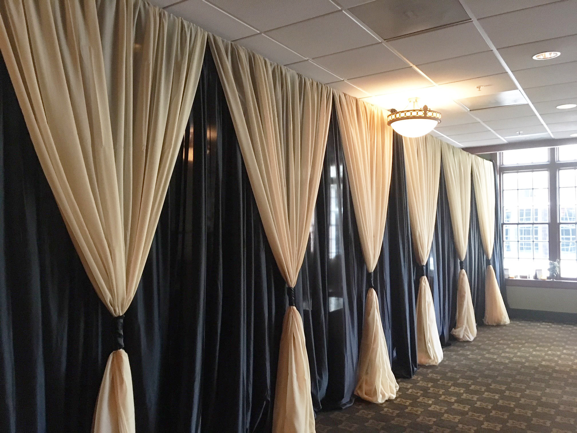DIY Black Sateen Wall Draping -12' Height - Per Foot Black Sateen Wall Draping