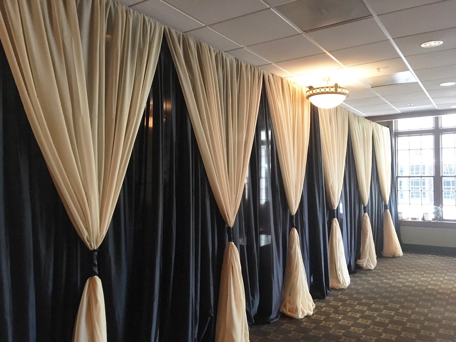 DIY Black Sateen Wall Draping -12' Height - Per Foot