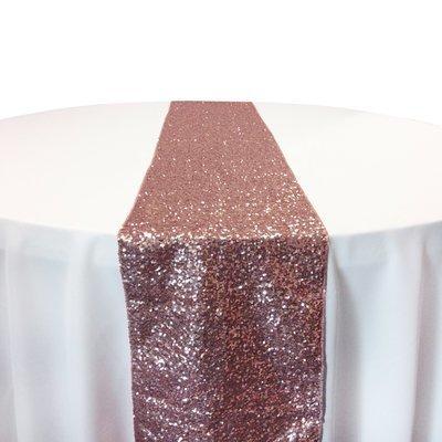 Blush Taffeta Sequin Table Runner Rental