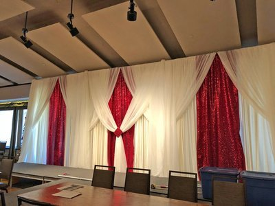 Apple Red Taffeta Glitz with Silver Voile Accents