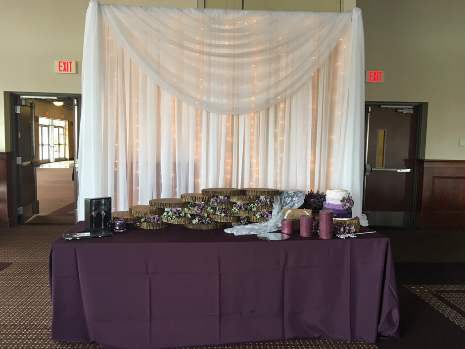 Cake Table Sheer Voile Backdrop - Iowa Only Cake Table Sheer Voile Backdrop