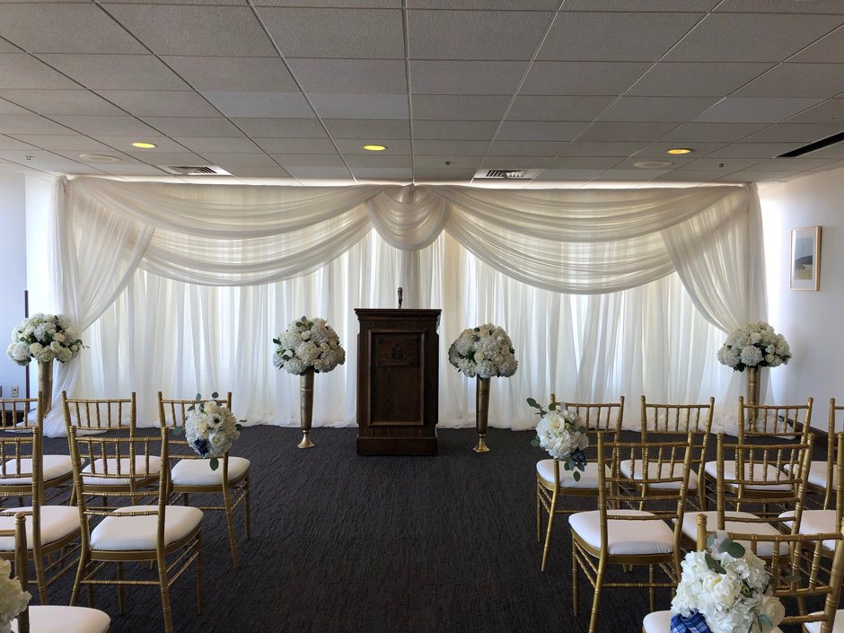 Sheer Voile Backdrop with Circle Swag Sheer Voile Backdrop with Circle Swag