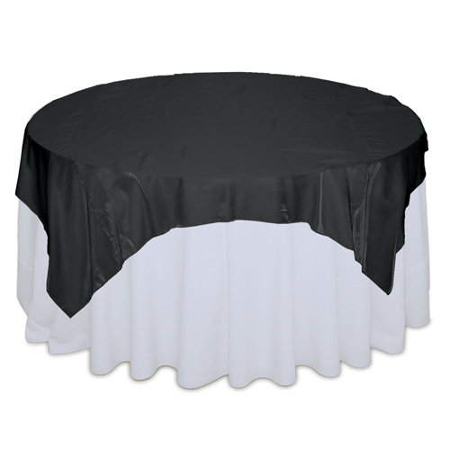 Black Organza Satin Table Overlay Rental Black Organza Satin Table Overlay Rental
