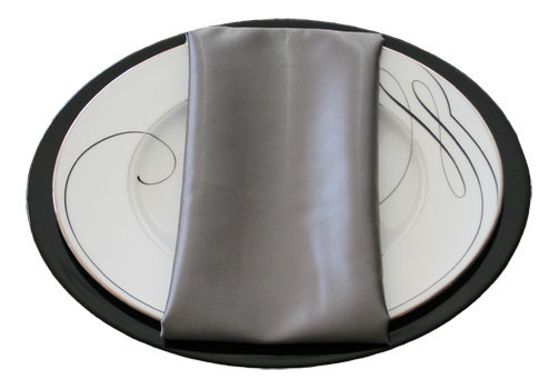 Silver Satin Napkins Silver Polyester Satin Napkin Rental
