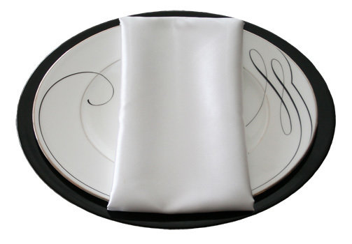 White Napkins White Polyester Satin Napkin Rental