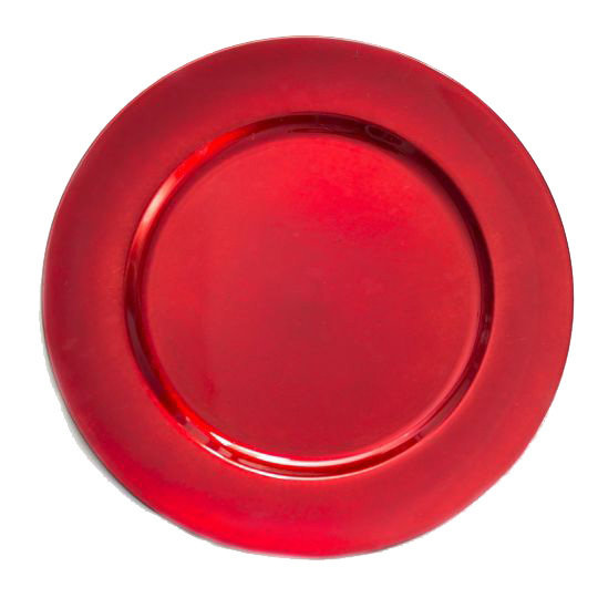 """Red Charger Plates Rental - 13"""" Acrylic Plain Trim Red Charger Plates Rental"""