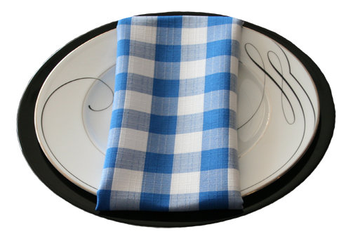 Blue Linen Check Napkin Rental Blue Linen Check Napkin Rental