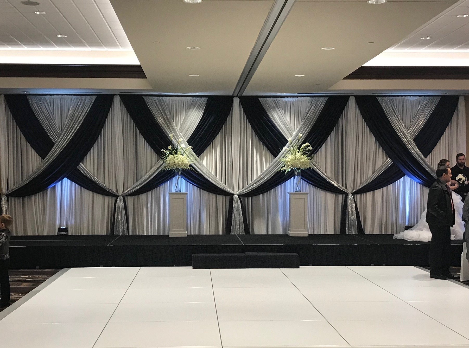 Navy Satin Accented with Silver Glitz on White Sateen Backdrop Navy Satin Accented with Silver Glitz on White Sateen Backdrop