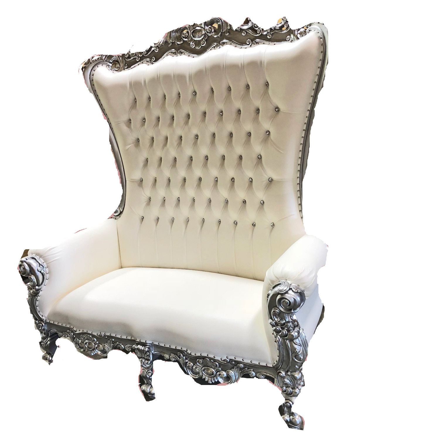 High Back Queen Throne Loveseat - White & Silver High Back Queen Throne Loveseat - White & Silver