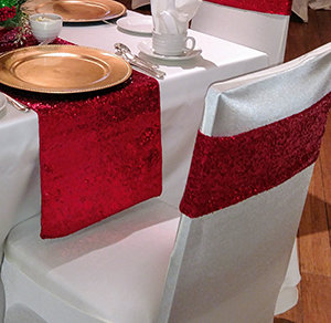 Sequin Chair Bands - Apple Red Apple Red Sequin Chair Bands