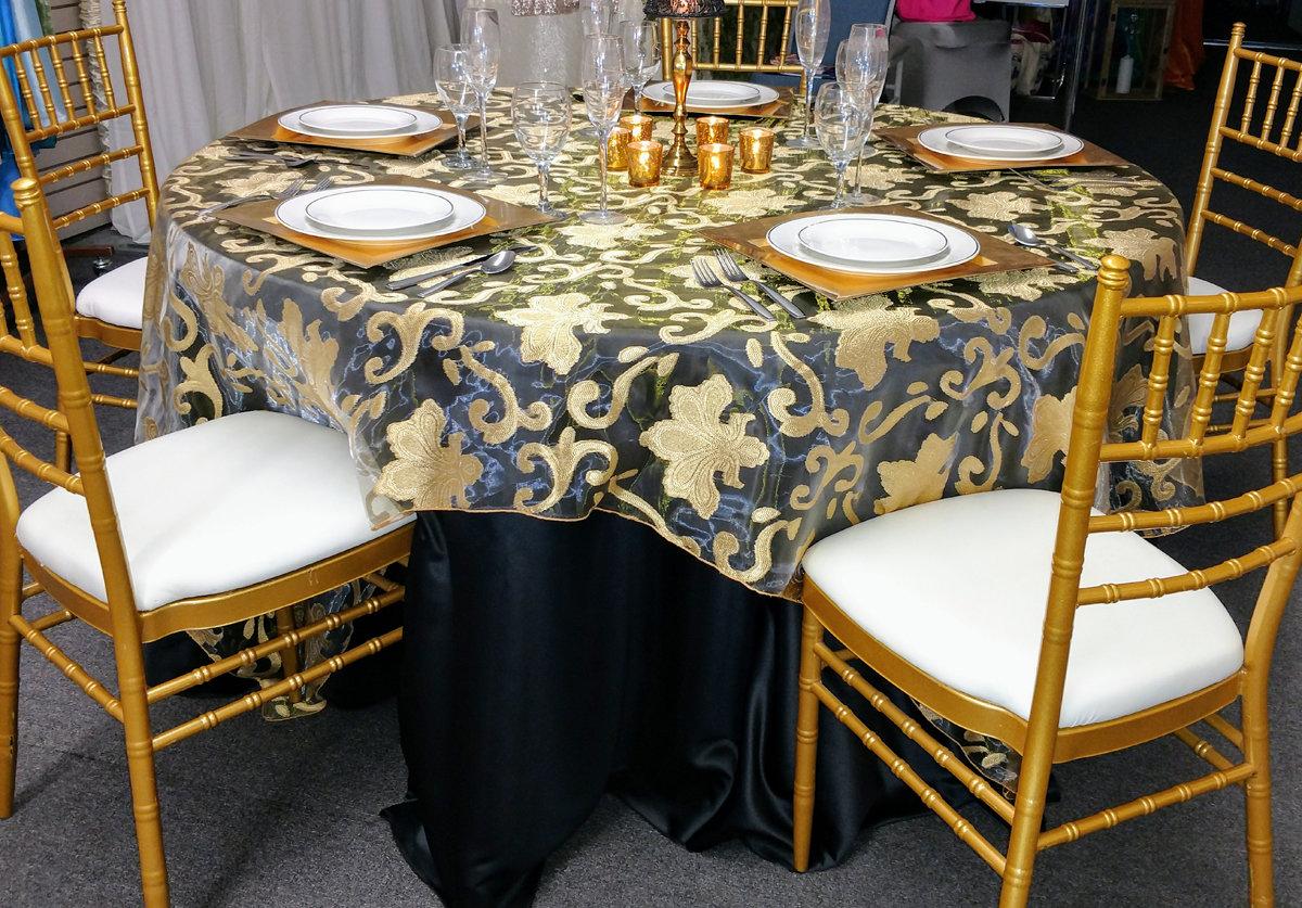Gold Fleur De Lis Table Overlay