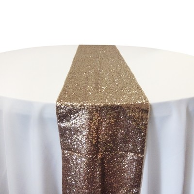 Champagne Taffeta Glitz Table Runner Rental
