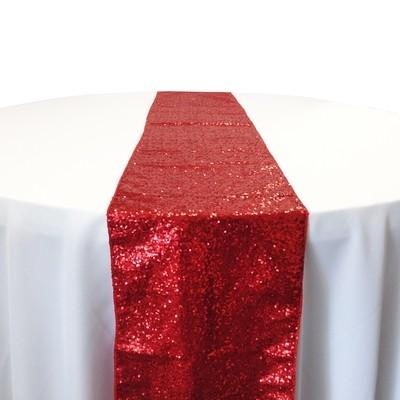 Red Taffeta Sequin Table Runner Rental