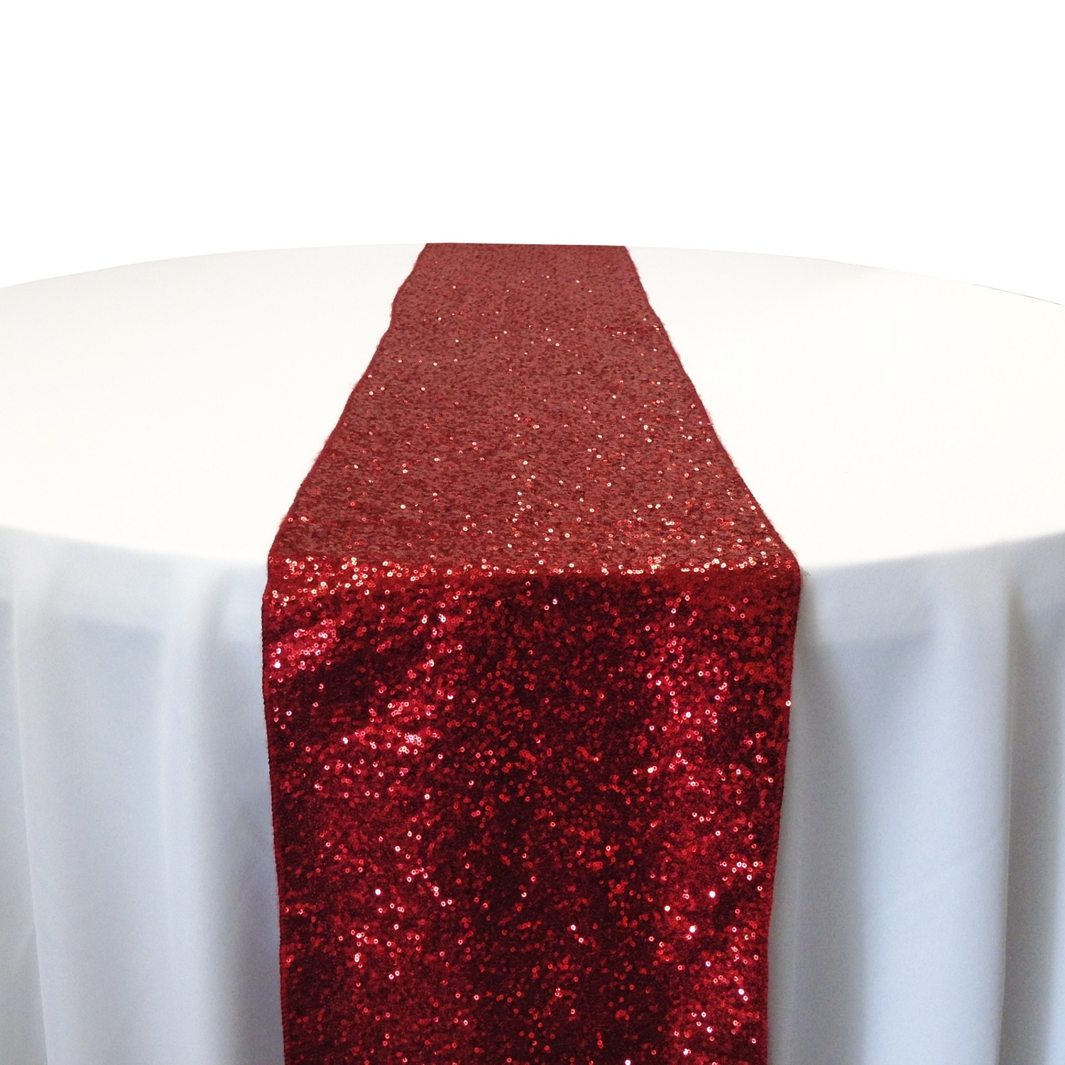 Apple Red Taffeta Sequin Table Runner Rental