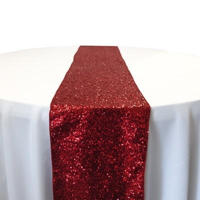 Apple Red Taffeta Sequin Table Runner Rental