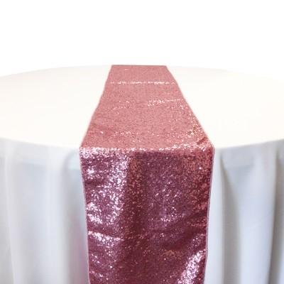 Pink Taffeta Sequin Table Runner Rental