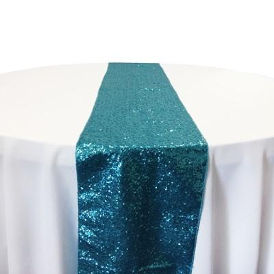 Turquoise Taffeta Sequin Table Runner Rental