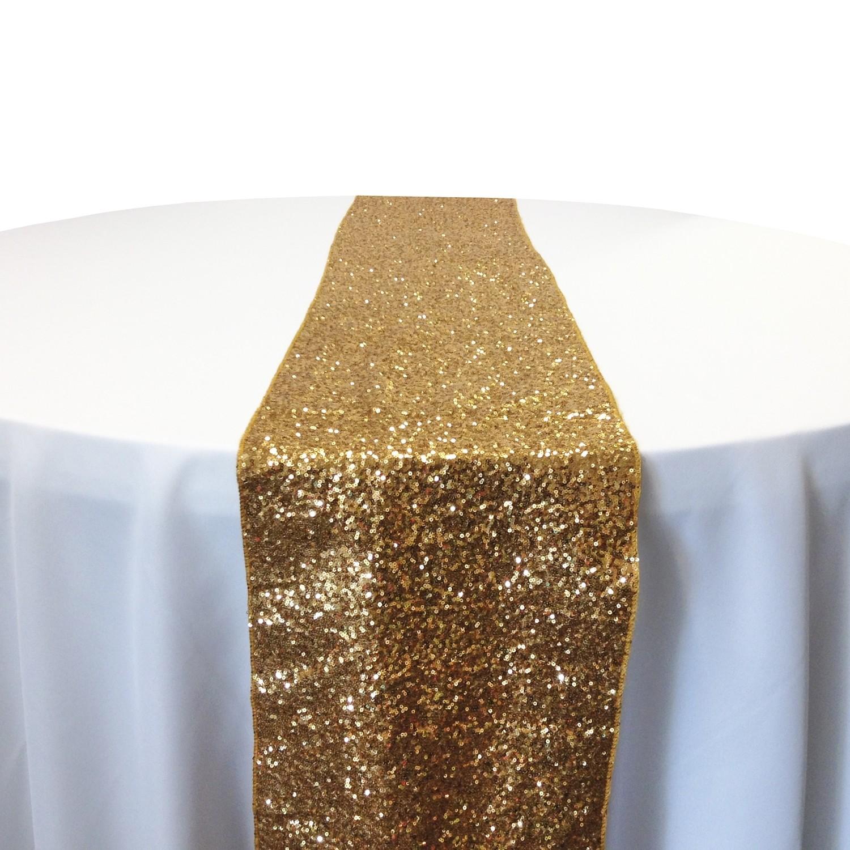 Gold Taffeta Sequin Table Runner Rental