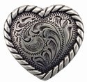 Heart Rope Edge Concho Silver 1""