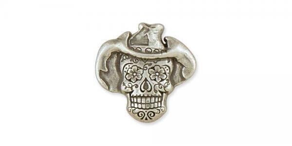 Cowboy Sugar Skull Conchos Antique Silver