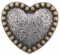 """Heart Berry Concho Silver and Gold 1 1/4"""""""