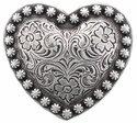 "Heart Berry Concho Antique Silver 1 1/4"""